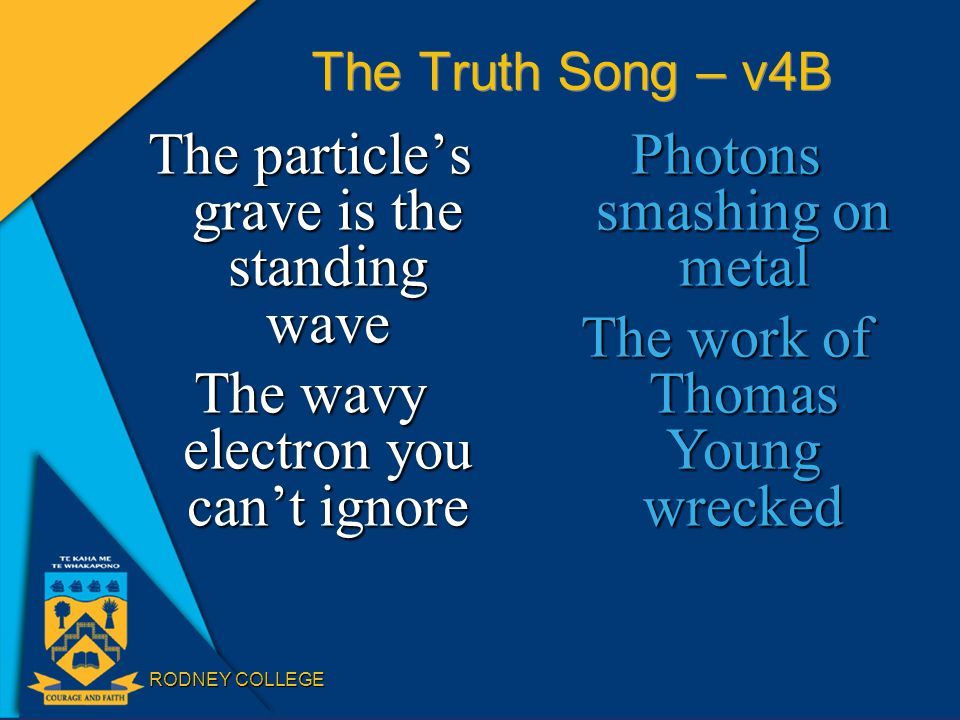 RODNEY COLLEGE The Truth Song – v4B The particle's grave is the standing wave The wavy electron you can't ignore Photons smashing on metal The work of