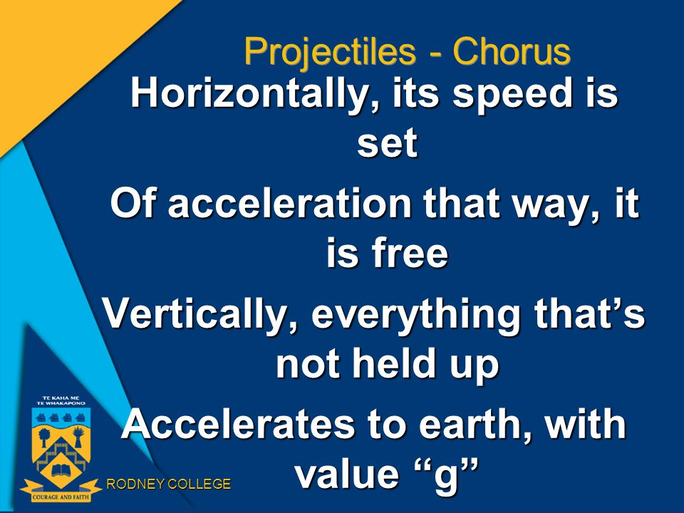 RODNEY COLLEGE Projectiles - Chorus Horizontally, its speed is set Of acceleration that way, it is free Vertically, everything that's not held up Accelerates to earth, with value g