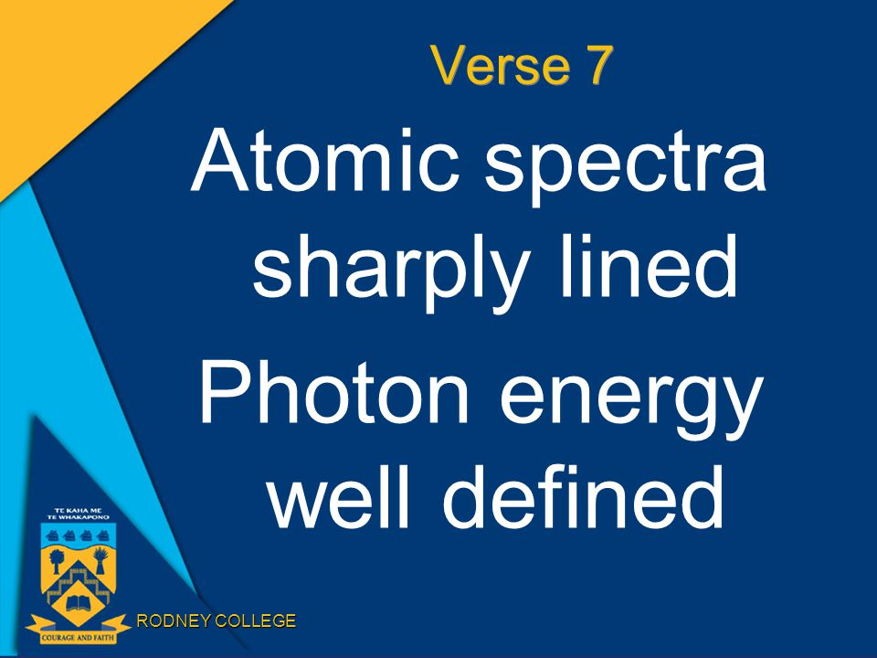 RODNEY COLLEGE Verse 7 Atomic spectra sharply lined Photon energy well defined