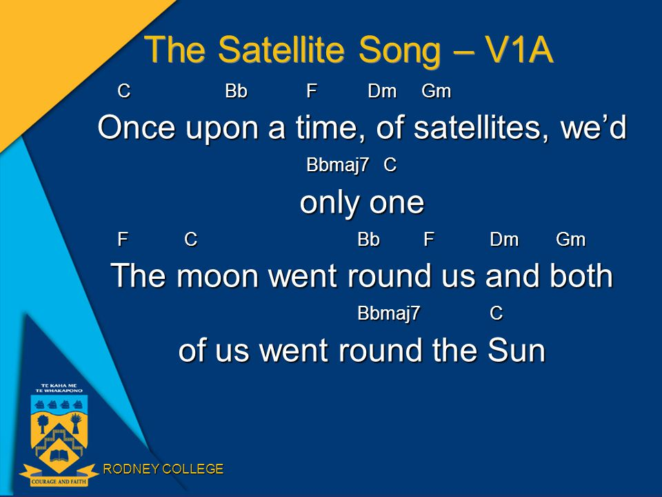 RODNEY COLLEGE The Satellite Song – V1A CBb F Dm Gm Once upon a time, of satellites, we'd Bbmaj7 C Bbmaj7 C only one F CBbF Dm Gm The moon went round us and both Bbmaj7C Bbmaj7C of us went round the Sun