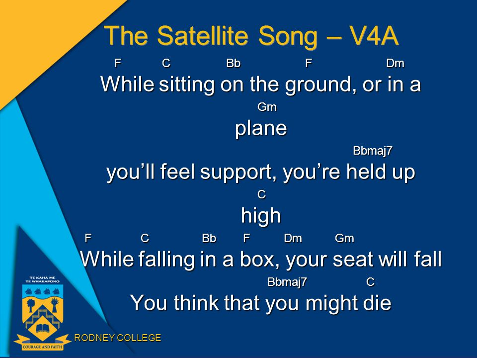 RODNEY COLLEGE The Satellite Song – V4A FC BbF Dm While sitting on the ground, or in a GmplaneBbmaj7 you'll feel support, you're held up Chigh F C Bb