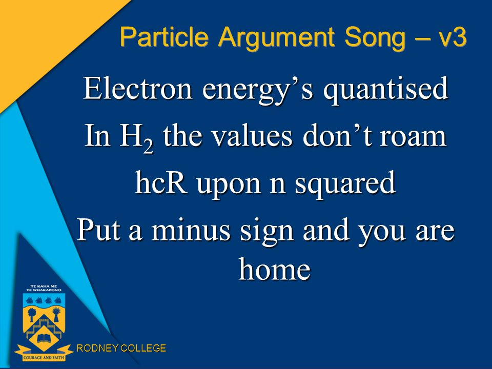 RODNEY COLLEGE Particle Argument Song – v3 Electron energy's quantised In H 2 the values don't roam hcR upon n squared Put a minus sign and you are ho