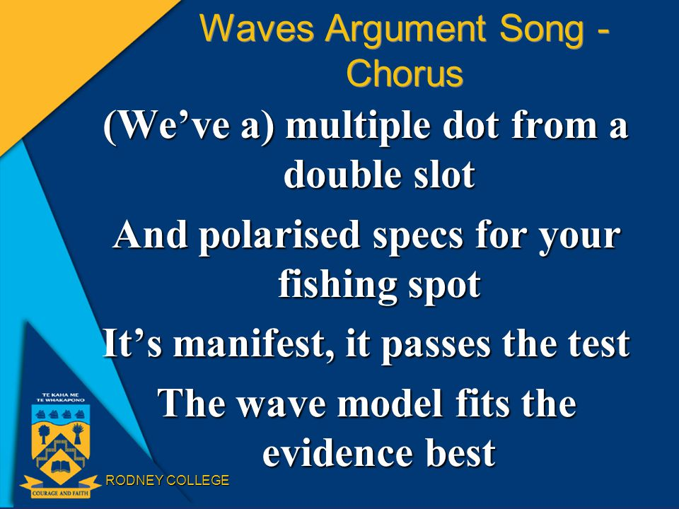 RODNEY COLLEGE Waves Argument Song - Chorus (We've a) multiple dot from a double slot And polarised specs for your fishing spot It's manifest, it passes the test The wave model fits the evidence best