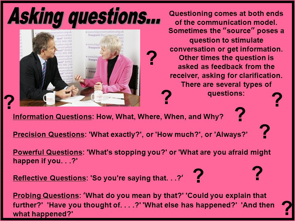 Information Questions: How, What, Where, When, and Why.