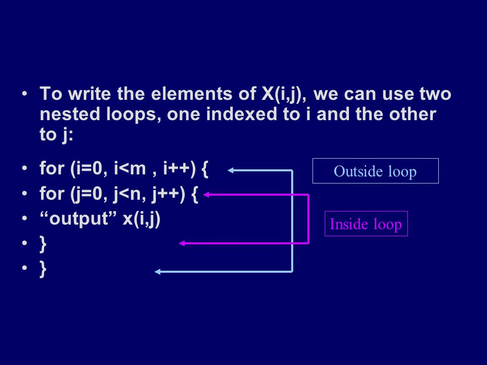 To write the elements of X(i,j), we can use two nested loops, one indexed to i and the other to j: for (i=0, i<m, i++) { for (j=0, j<n, j++) { output x(i,j) } To write the elements of X(i,j), we can use two nested loops, one indexed to i and the other to j: for (i=0, i<m, i++) { for (j=0, j<n, j++) { output x(i,j) } Outside loop Inside loop