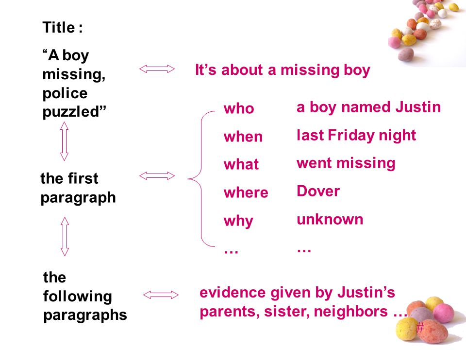 # Title : A boy missing, police puzzled the first paragraph the following paragraphs evidence given by Justin's parents, sister, neighbors … a boy named Justin last Friday night went missing Dover unknown … who when what where why … It's about a missing boy