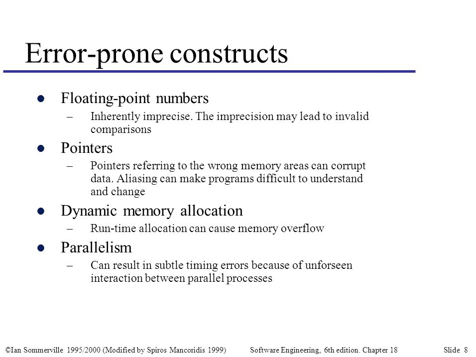 ©Ian Sommerville 1995/2000 (Modified by Spiros Mancoridis 1999) Software Engineering, 6th edition. Chapter 18 Slide 8 Error-prone constructs l Floatin