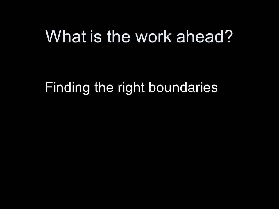 What is the work ahead Finding the right boundaries