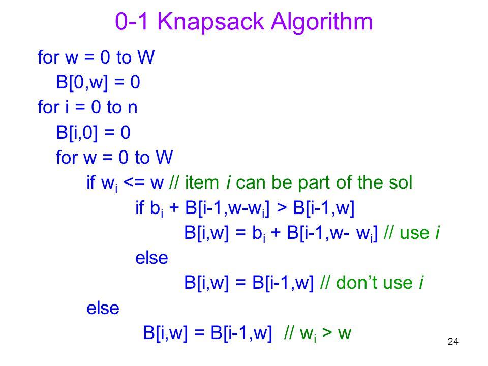 24 0-1 Knapsack Algorithm for w = 0 to W B[0,w] = 0 for i = 0 to n B[i,0] = 0 for w = 0 to W if w i <= w // item i can be part of the sol if b i + B[i