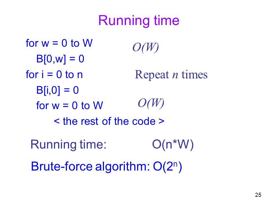 25 Running time for w = 0 to W B[0,w] = 0 for i = 0 to n B[i,0] = 0 for w = 0 to W Running time: O(W) Repeat n times O(n*W) Brute-force algorithm: O(2