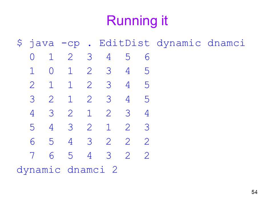 54 Running it $ java -cp. EditDist dynamic dnamci 0 1 2 3 4 5 6 1 0 1 2 3 4 5 2 1 1 2 3 4 5 3 2 1 2 3 4 5 4 3 2 1 2 3 4 5 4 3 2 1 2 3 6 5 4 3 2 2 2 7