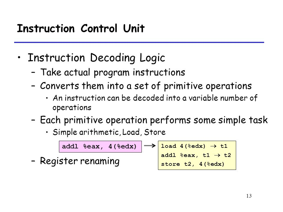 13 Instruction Control Unit Instruction Decoding Logic –Take actual program instructions –Converts them into a set of primitive operations An instruction can be decoded into a variable number of operations –Each primitive operation performs some simple task Simple arithmetic, Load, Store –Register renaming load 4(%edx)  t1 addl %eax, t1  t2 store t2, 4(%edx) addl %eax, 4(%edx)