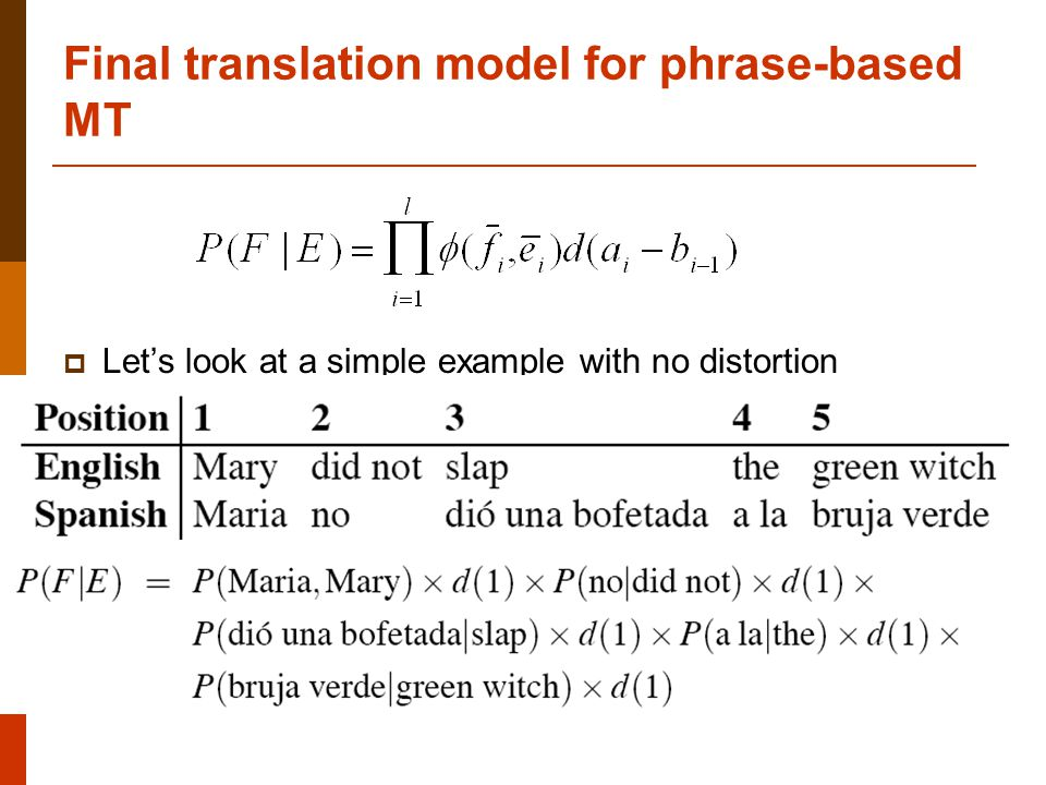 Final translation model for phrase-based MT  Let's look at a simple example with no distortion