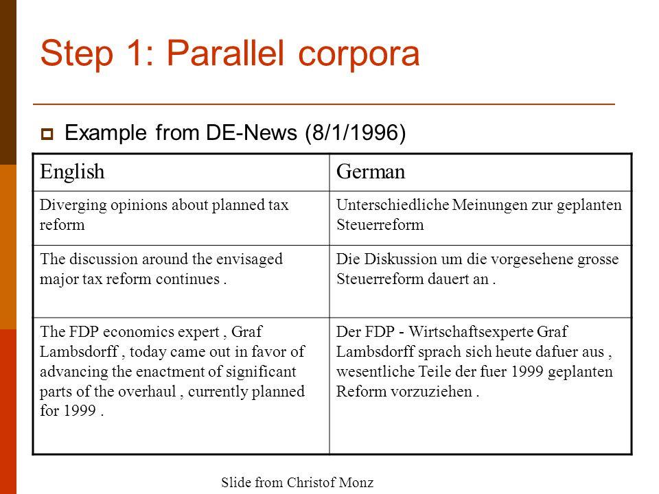 Step 1: Parallel corpora EnglishGerman Diverging opinions about planned tax reform Unterschiedliche Meinungen zur geplanten Steuerreform The discussion around the envisaged major tax reform continues.