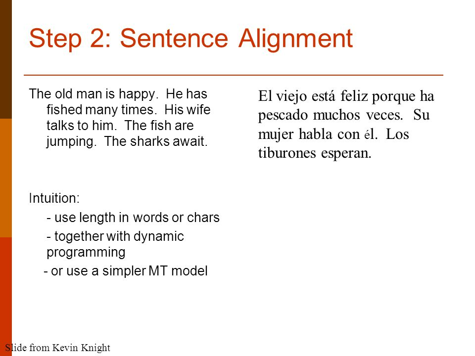Step 2: Sentence Alignment The old man is happy. He has fished many times.