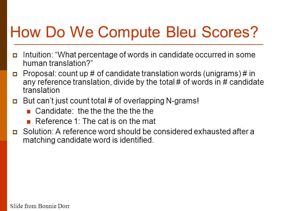 How Do We Compute Bleu Scores.