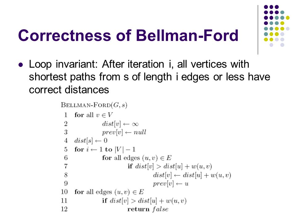 Correctness of Bellman-Ford Loop invariant: After iteration i, all vertices with shortest paths from s of length i edges or less have correct distance