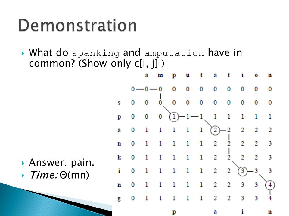  What do spanking and amputation have in common. (Show only c[i, j] )  Answer: pain.