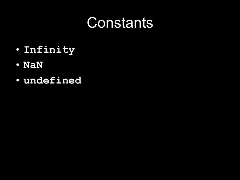 Constants Infinity NaN undefined
