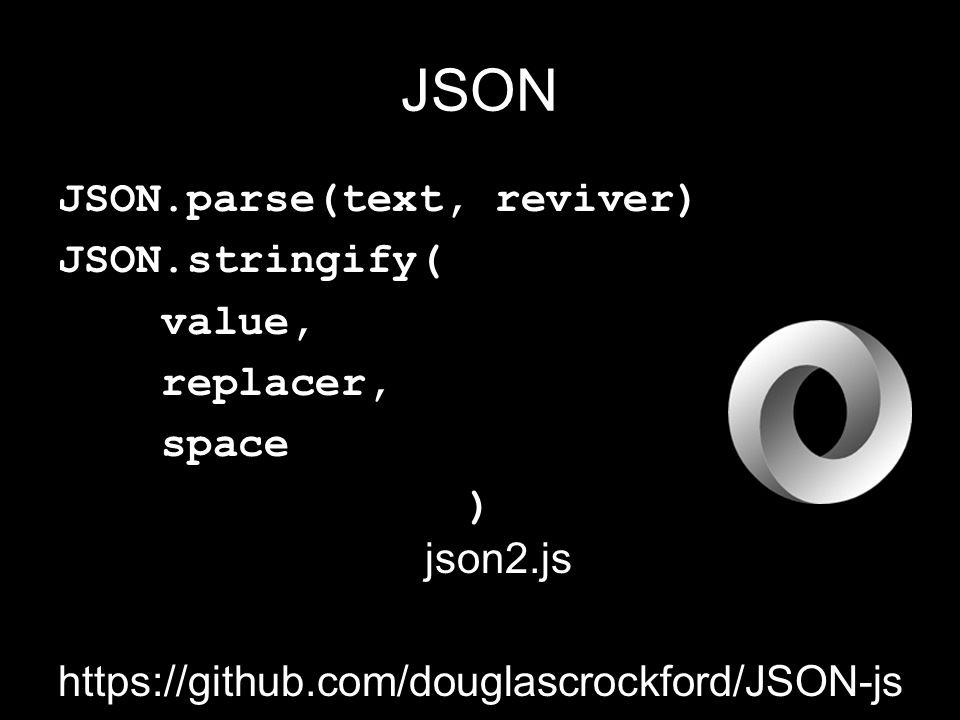 JSON JSON.parse(text, reviver) JSON.stringify( value, replacer, space ) json2.js https://github.com/douglascrockford/JSON-js