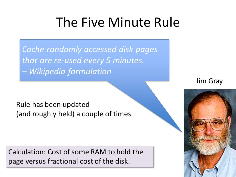 The Five Minute Rule Cache randomly accessed disk pages that are re-used every 5 minutes.