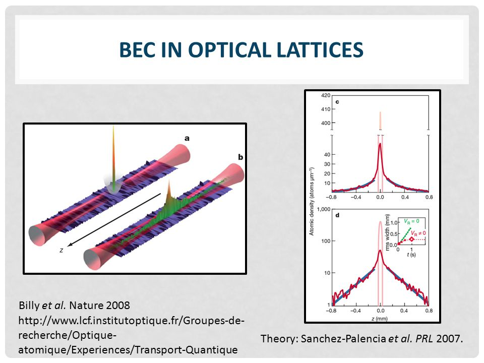 BEC IN OPTICAL LATTICES Billy et al.
