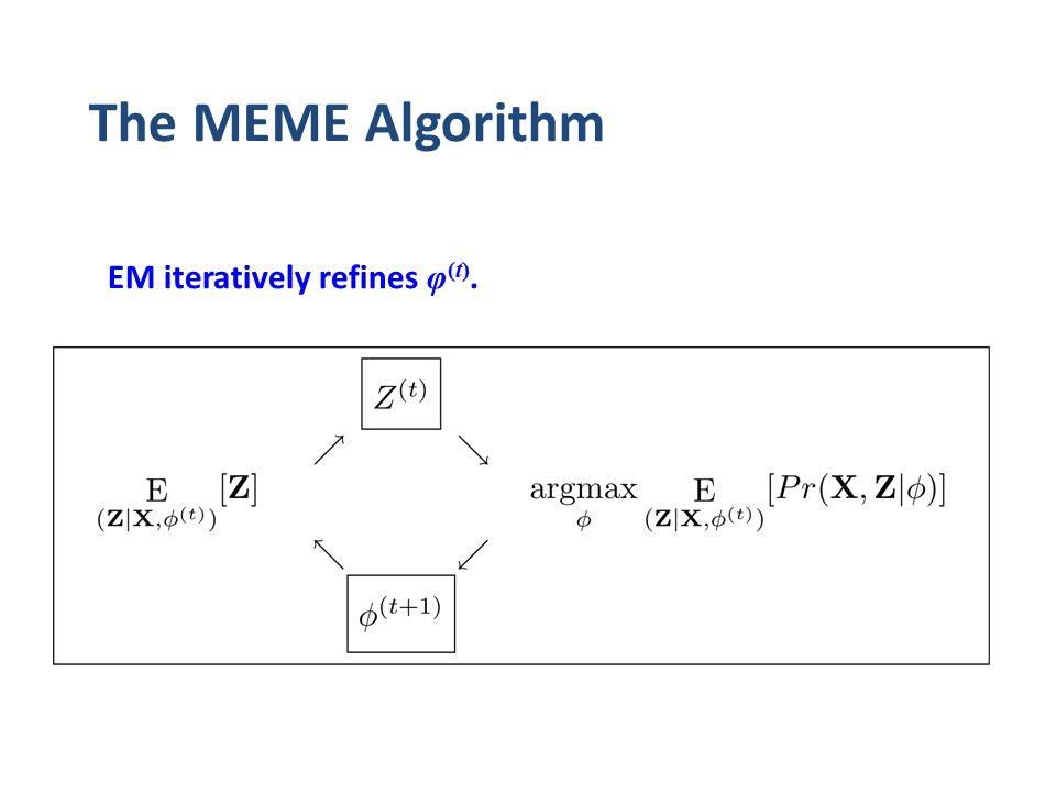 The MEME Algorithm EM iteratively refines φ (t).