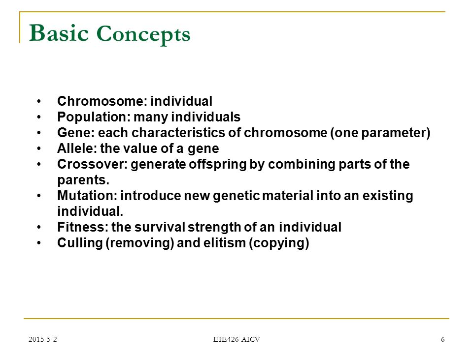 2015-5-2 EIE426-AICV 6 Basic Concepts Chromosome: individual Population: many individuals Gene: each characteristics of chromosome (one parameter) All