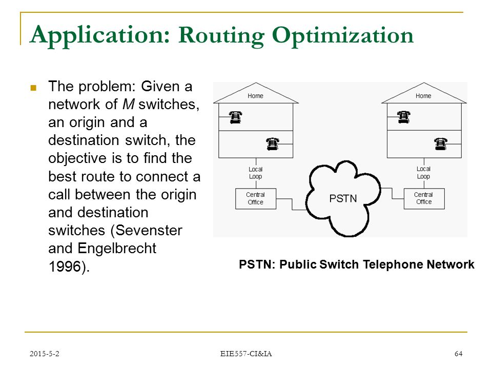 2015-5-2 EIE557-CI&IA 64 Application: Routing Optimization The problem: Given a network of M switches, an origin and a destination switch, the objecti