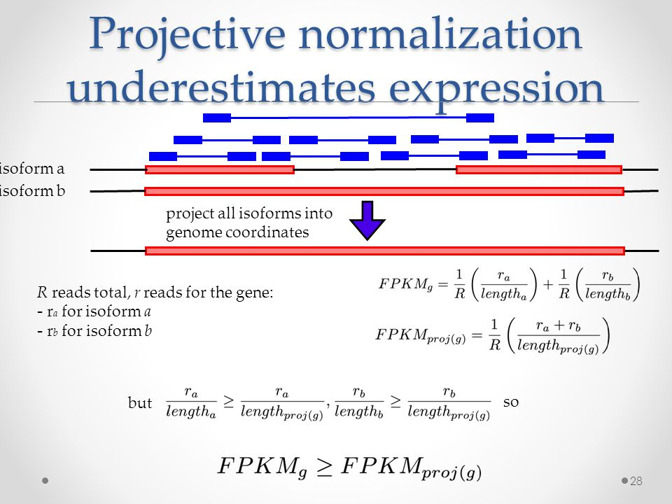 Projective normalization underestimates expression 28 isoform a isoform b project all isoforms into genome coordinates R reads total, r reads for the gene: - r a for isoform a - r b for isoform b but so