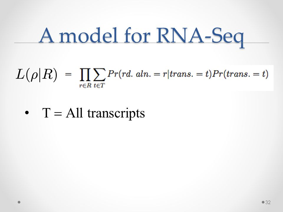 A model for RNA-Seq 32  All transcripts