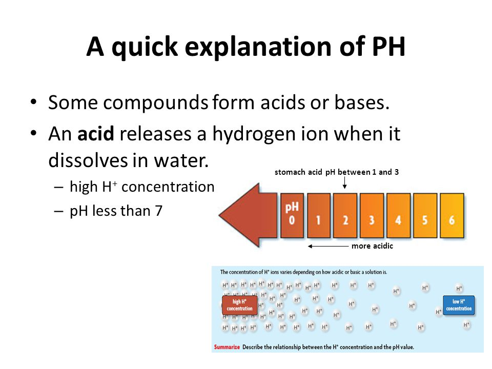 A quick explanation of PH A base removes hydrogen ions from a solution.