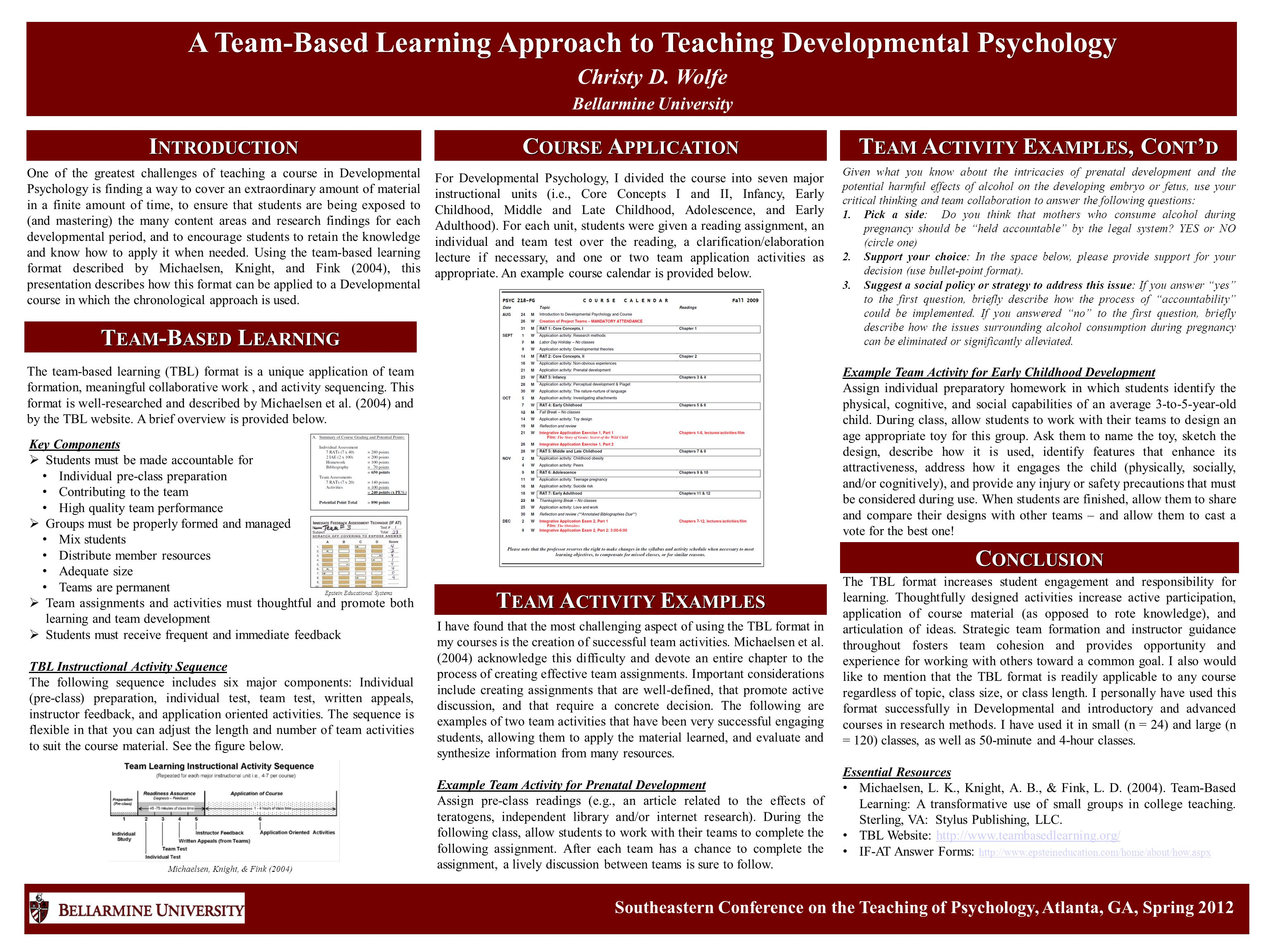 I NTRODUCTION A Team-Based Learning Approach to Teaching Developmental Psychology Christy D.