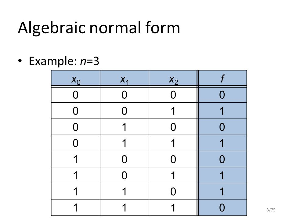 Algebraic normal form Example: n=3 8/75 x0x0 x1x1 x2x2 f 0000 0011 0100 0111 1000 1011 1101 1110