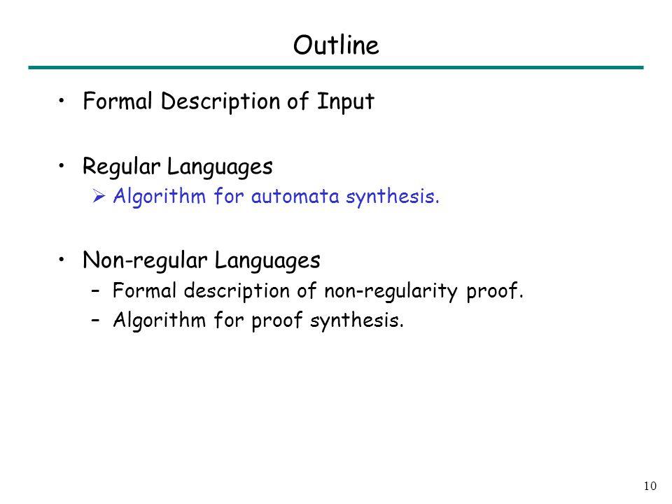 Formal Description of Input Regular Languages  Algorithm for automata synthesis.