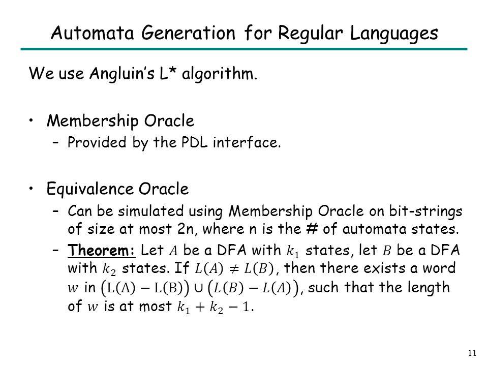 11 Automata Generation for Regular Languages