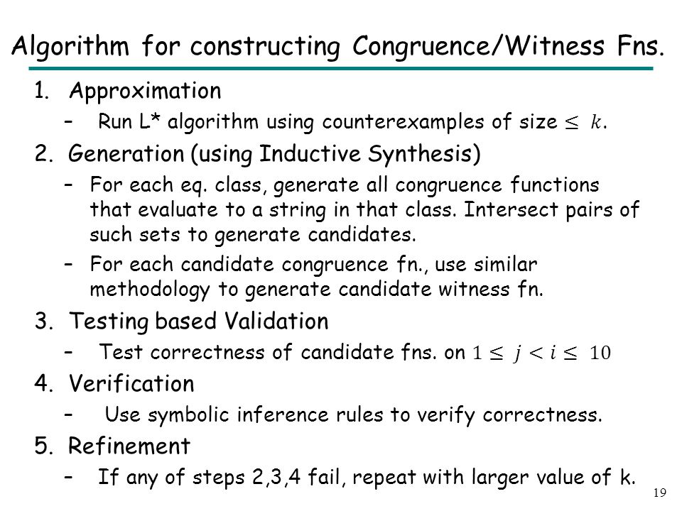 19 Algorithm for constructing Congruence/Witness Fns.