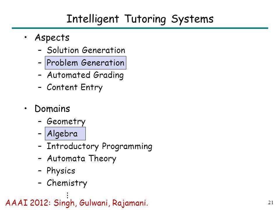 21 Intelligent Tutoring Systems AAAI 2012: Singh, Gulwani, Rajamani.