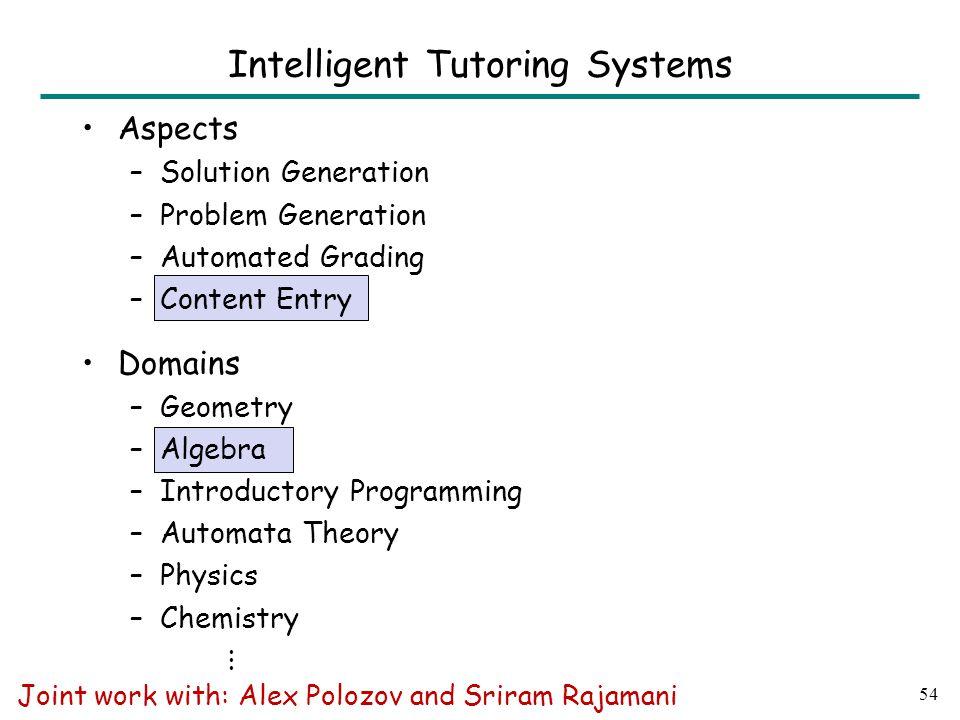54 Intelligent Tutoring Systems Joint work with: Alex Polozov and Sriram Rajamani