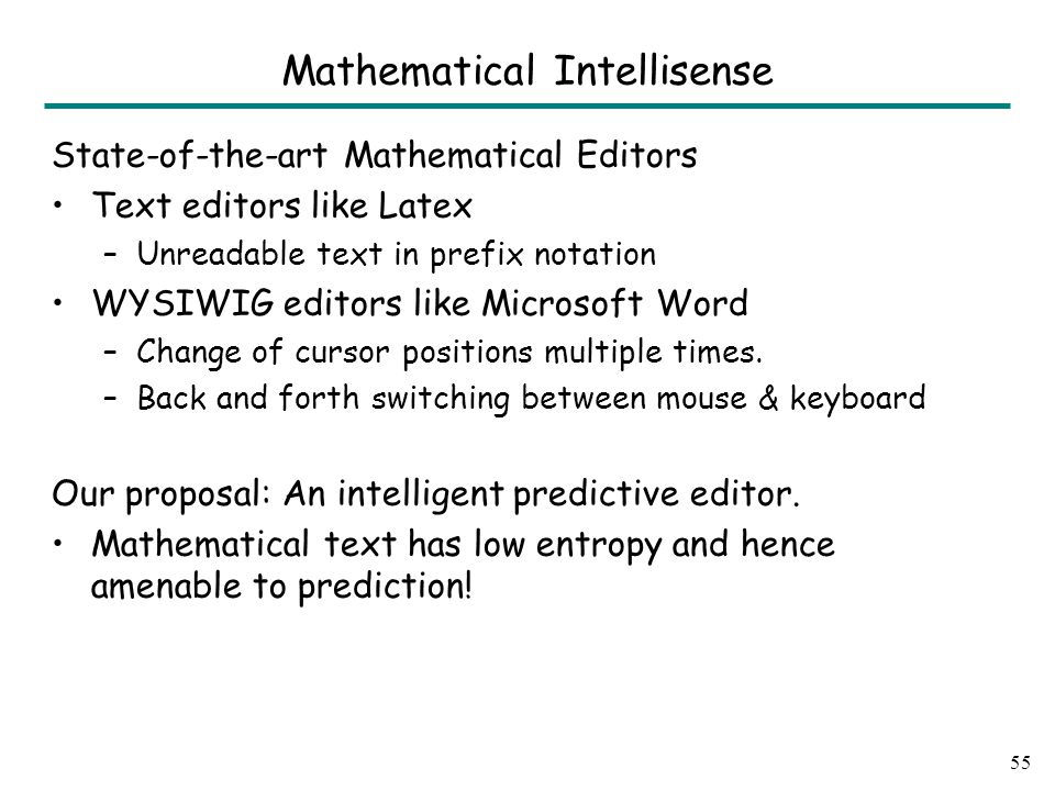 State-of-the-art Mathematical Editors Text editors like Latex –Unreadable text in prefix notation WYSIWIG editors like Microsoft Word –Change of cursor positions multiple times.