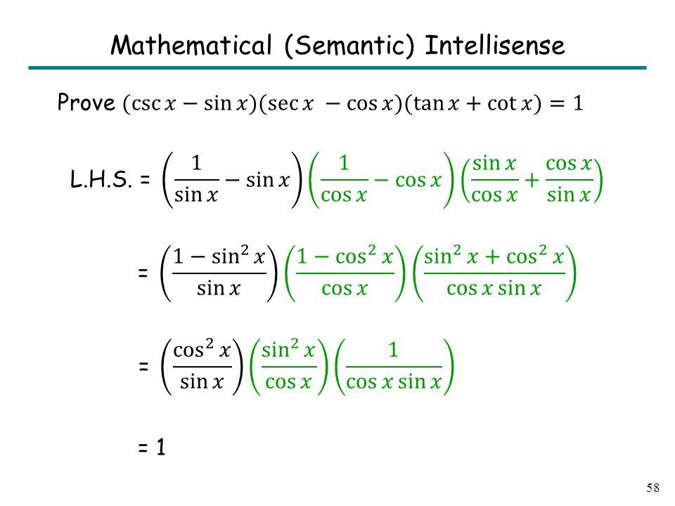 58 Mathematical (Semantic) Intellisense