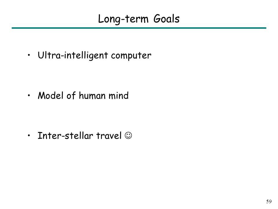 Long-term Goals Ultra-intelligent computer Model of human mind Inter-stellar travel 59