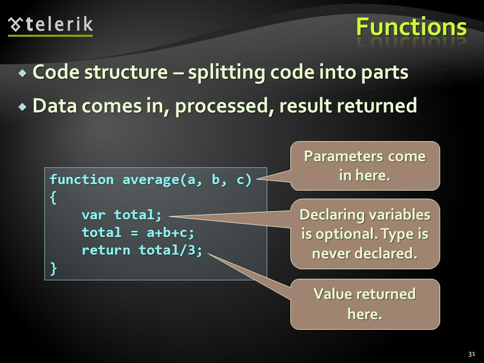  Code structure – splitting code into parts  Data comes in, processed, result returned 31 function average(a, b, c) { var total; var total; total = a+b+c; total = a+b+c; return total/3; return total/3;} Parameters come in here.
