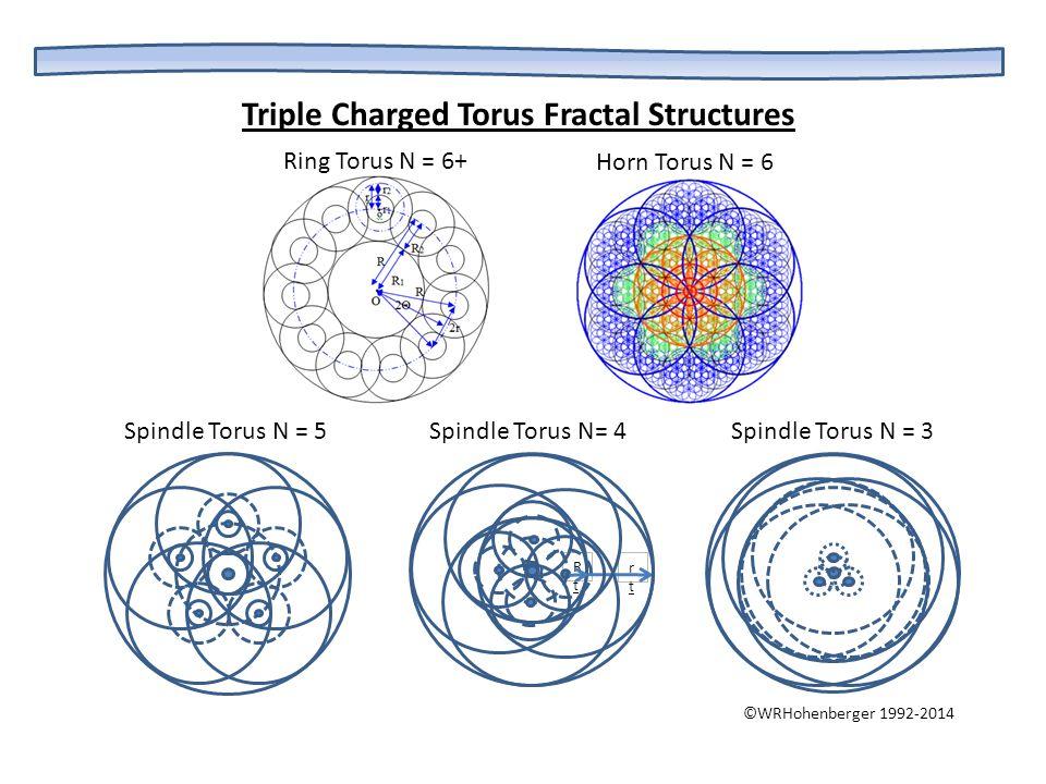 rtrt RtRt Triple Charged Torus Fractal Structures Ring Torus N = 6+ Horn Torus N = 6 Spindle Torus N = 5 Spindle Torus N= 4 Spindle Torus N = 3 ©WRHoh