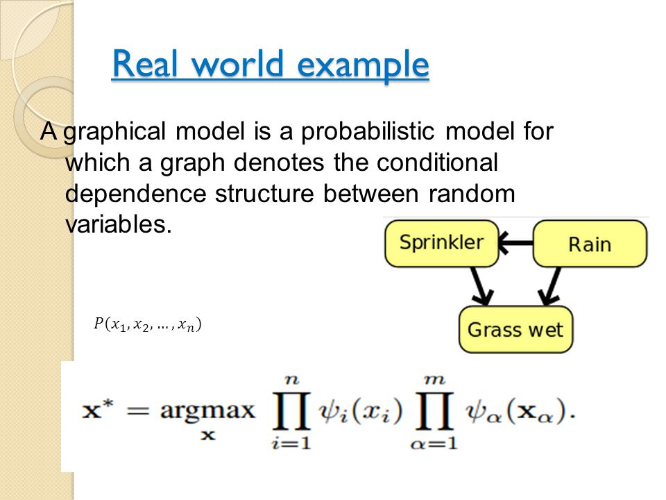 Real world example A graphical model is a probabilistic model for which a graph denotes the conditional dependence structure between random variables.