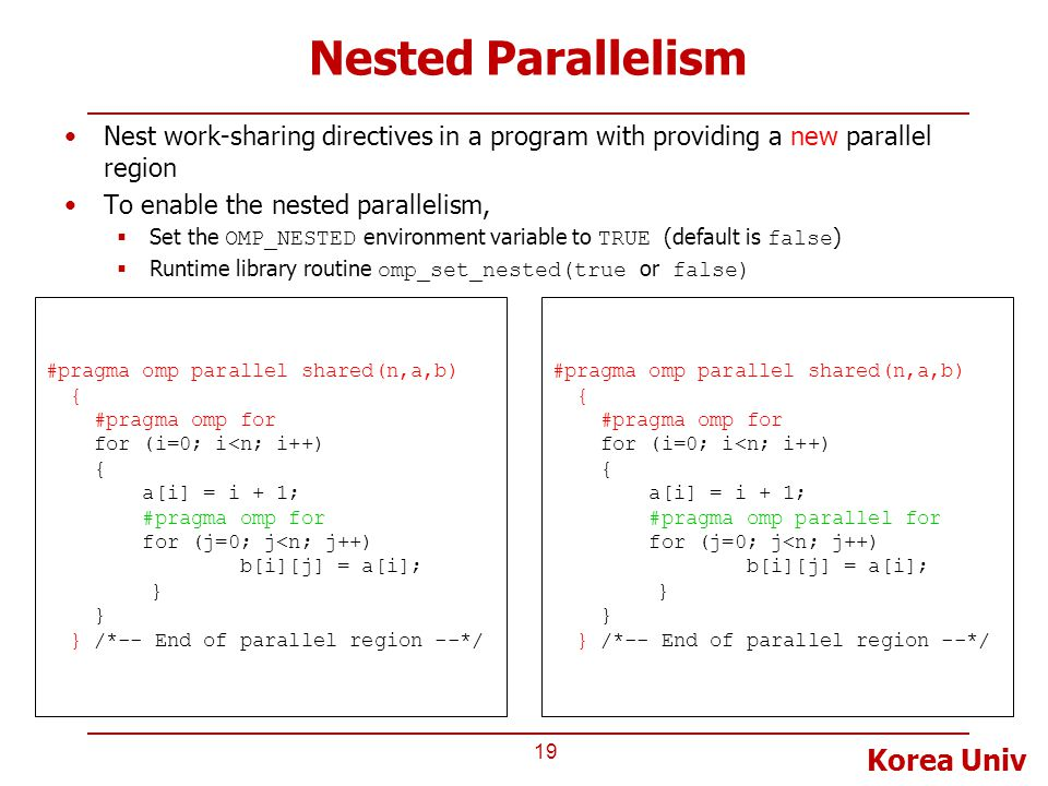 Korea Univ Nested Parallelism 19 #pragma omp parallel shared(n,a,b) { #pragma omp for for (i=0; i<n; i++) { a[i] = i + 1; #pragma omp parallel for for (j=0; j<n; j++) b[i][j] = a[i]; } } /*-- End of parallel region --*/ #pragma omp parallel shared(n,a,b) { #pragma omp for for (i=0; i<n; i++) { a[i] = i + 1; #pragma omp for for (j=0; j<n; j++) b[i][j] = a[i]; } } /*-- End of parallel region --*/ Nest work-sharing directives in a program with providing a new parallel region To enable the nested parallelism,  Set the OMP_NESTED environment variable to TRUE (default is false )  Runtime library routine omp_set_nested(true or false)
