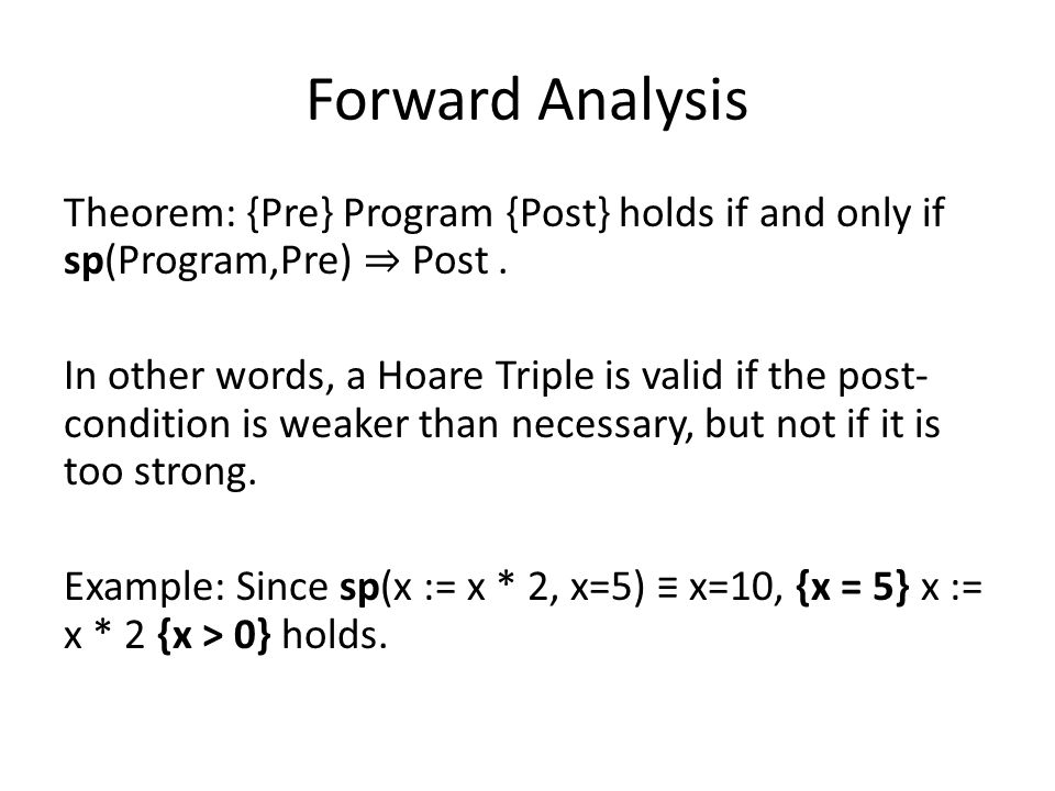 Forward Analysis Theorem: {Pre} Program {Post} holds if and only if sp(Program,Pre) ⇒ Post.