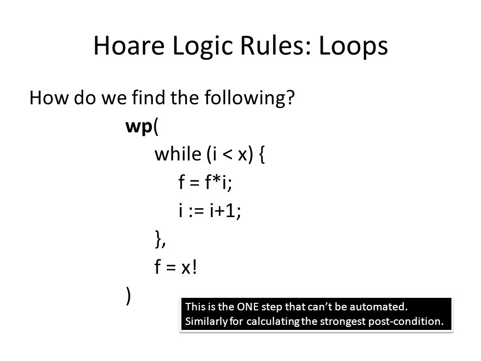 Hoare Logic Rules: Loops How do we find the following.