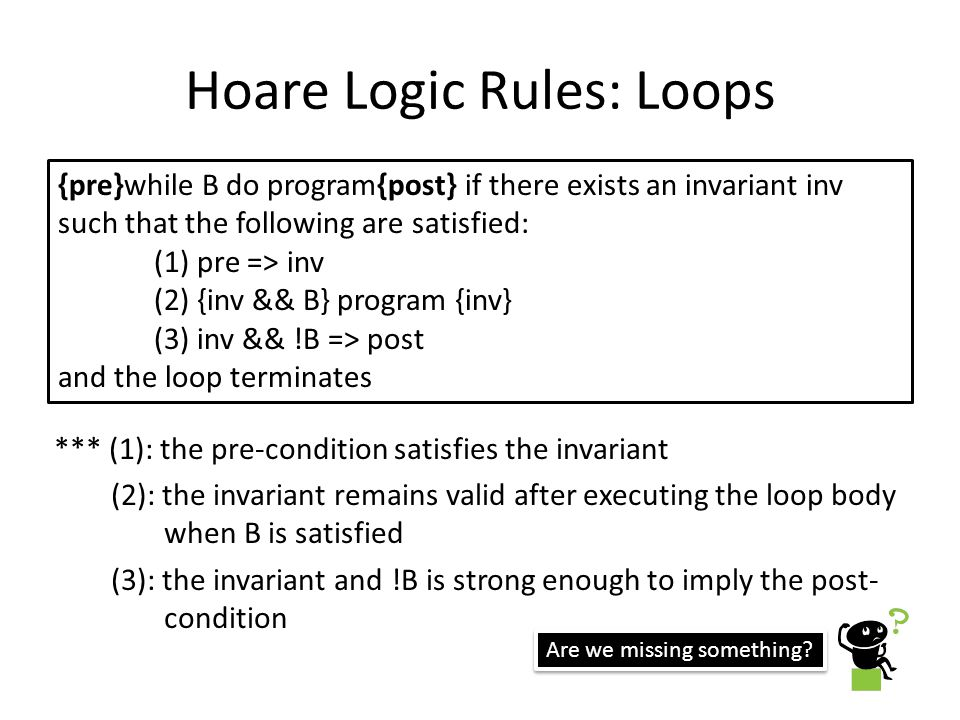 Hoare Logic Rules: Loops *** (1): the pre-condition satisfies the invariant (2): the invariant remains valid after executing the loop body when B is satisfied (3): the invariant and !B is strong enough to imply the post- condition {pre}while B do program{post} if there exists an invariant inv such that the following are satisfied: (1) pre => inv (2) {inv && B} program {inv} (3) inv && !B => post and the loop terminates Are we missing something