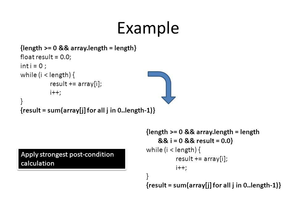 Example {length >= 0 && array.length = length} float result = 0.0; int i = 0 ; while (i < length) { result += array[i]; i++; } {result = sum(array[j] for all j in 0..length-1)} Apply strongest post-condition calculation {length >= 0 && array.length = length && i = 0 && result = 0.0} while (i < length) { result += array[i]; i++; } {result = sum(array[j] for all j in 0..length-1)}